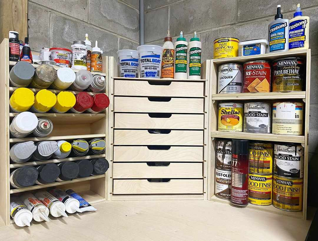 Wooden storage with drawers