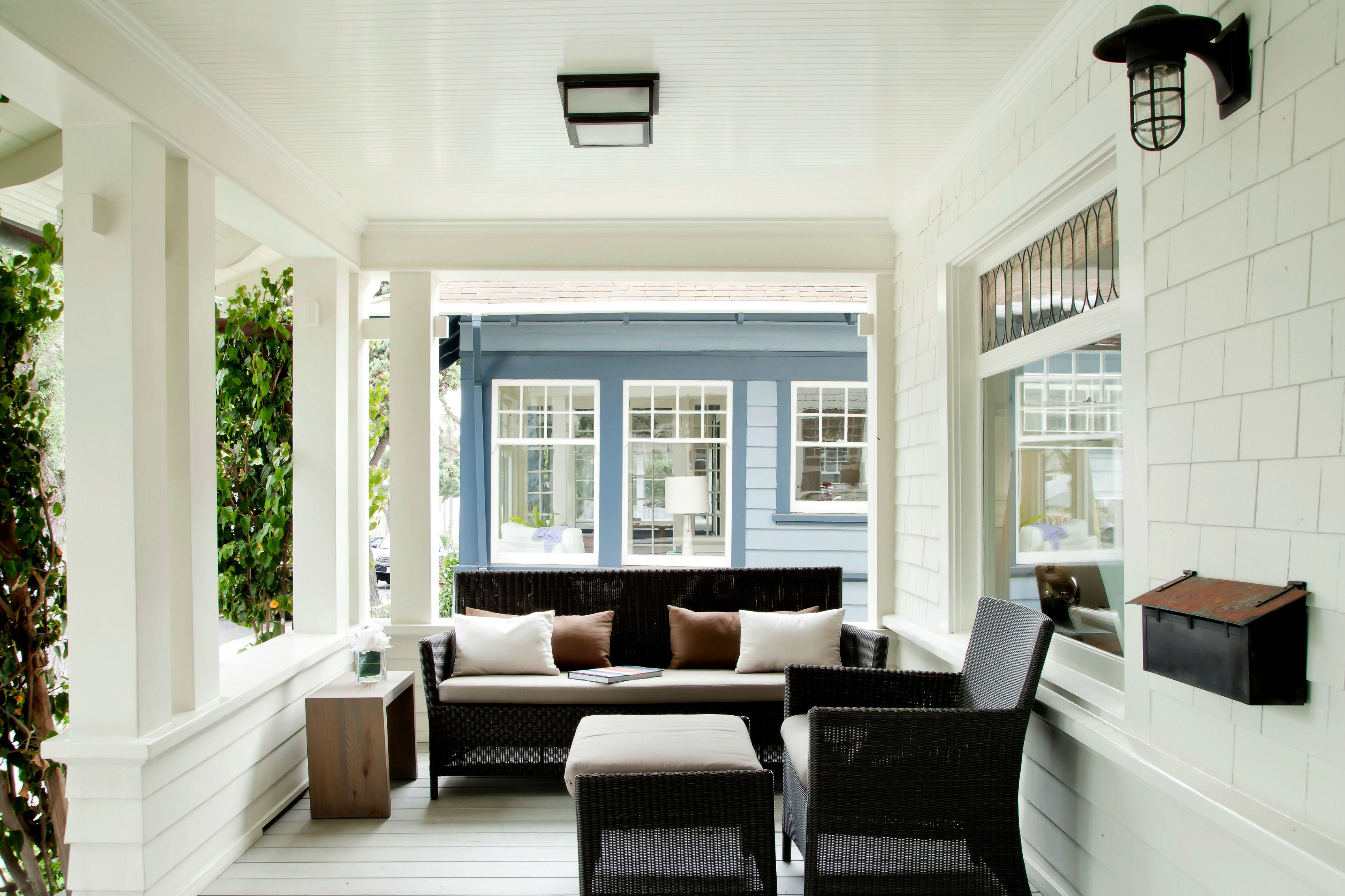 white traditional porch