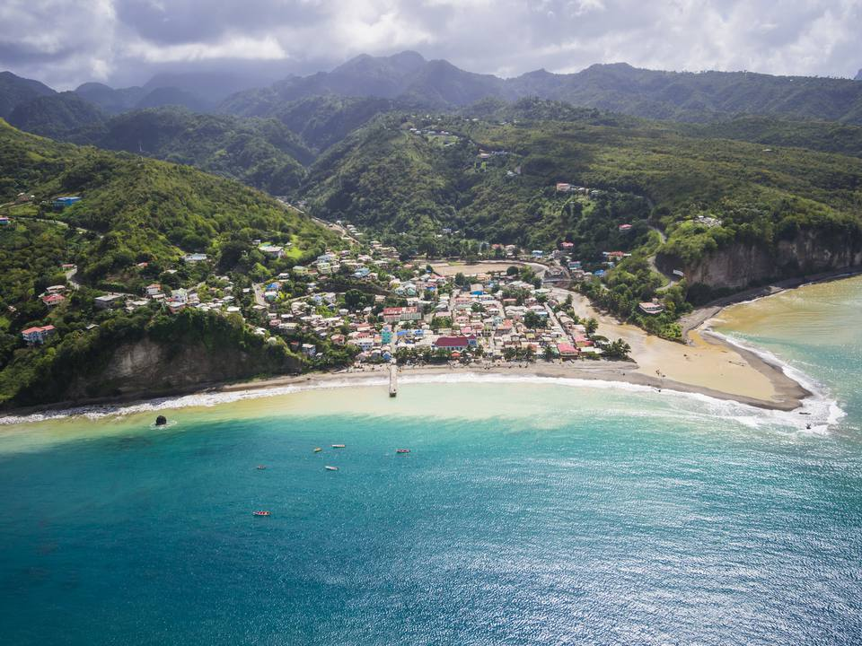 Aerial view of St. Lucia along