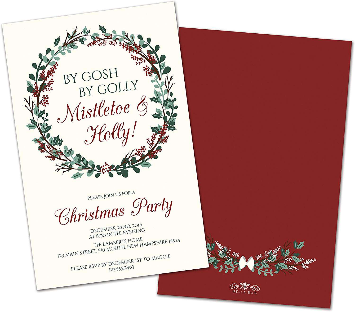 Bella Bug Personalized Mistletoe & Holly Christmas Party Invite