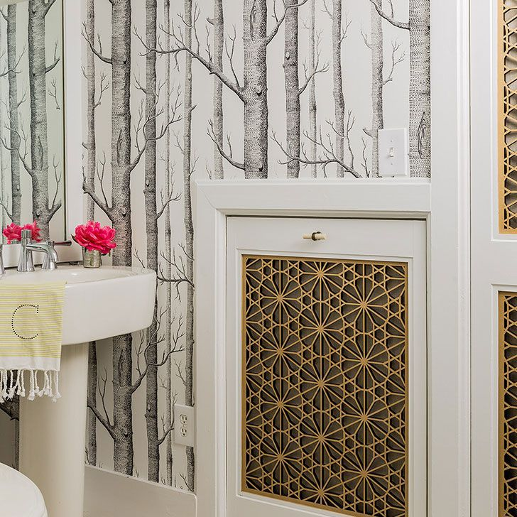 wallpaper adds interest to attic bathroom