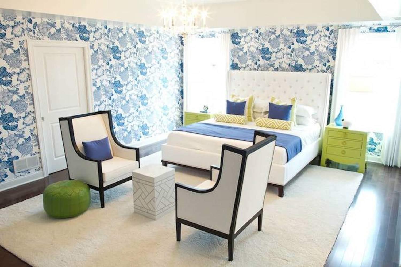 Habitación azul, verde y blanca , Habitación contemporánea