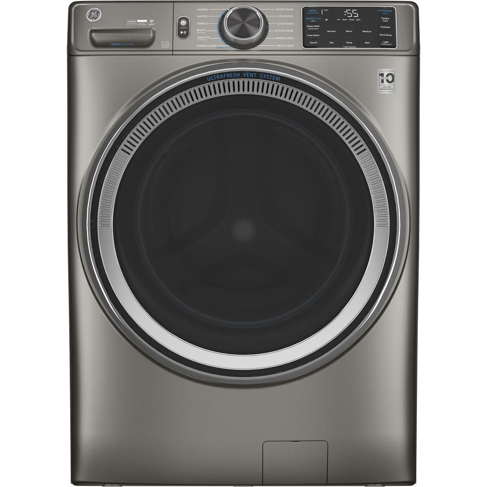 The GE GFW650SPNSN 4.8 cu. ft. Satin Nickel Front Load Washing Machine has settings to combat allergens and odors.