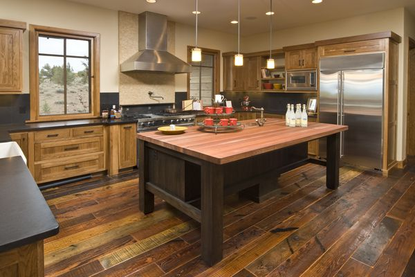 Rustic modern kitchen with reclaimed wood flooring
