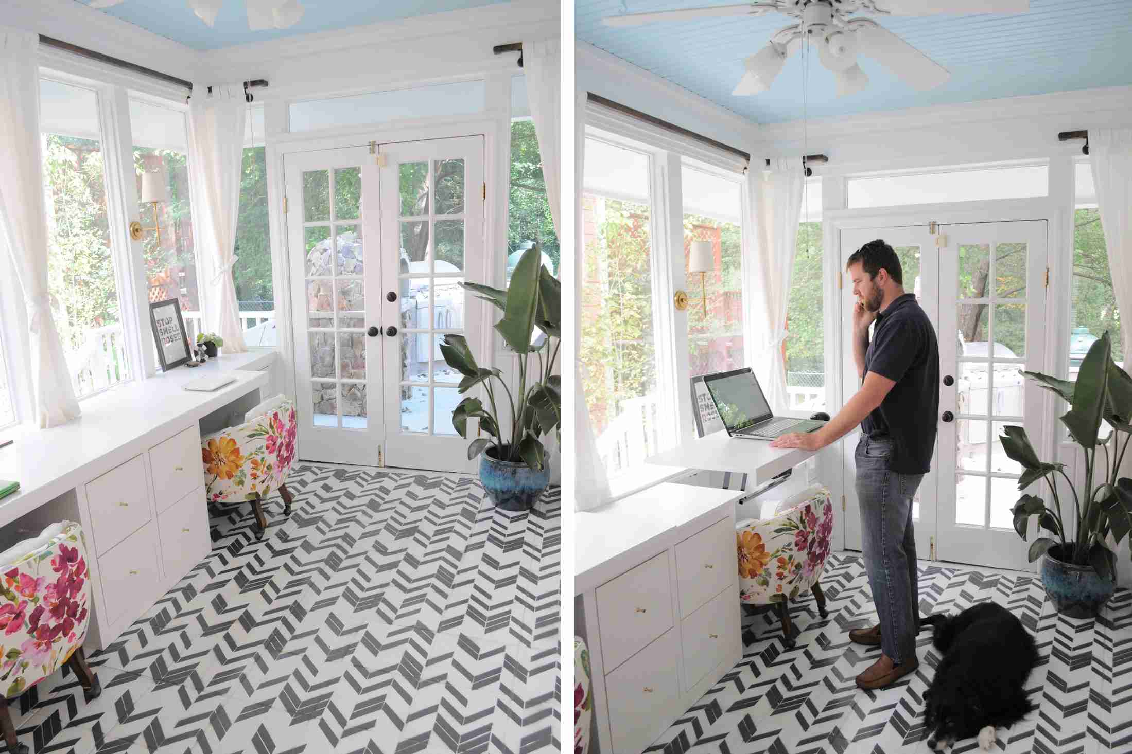 Sunroom home office with standing desk