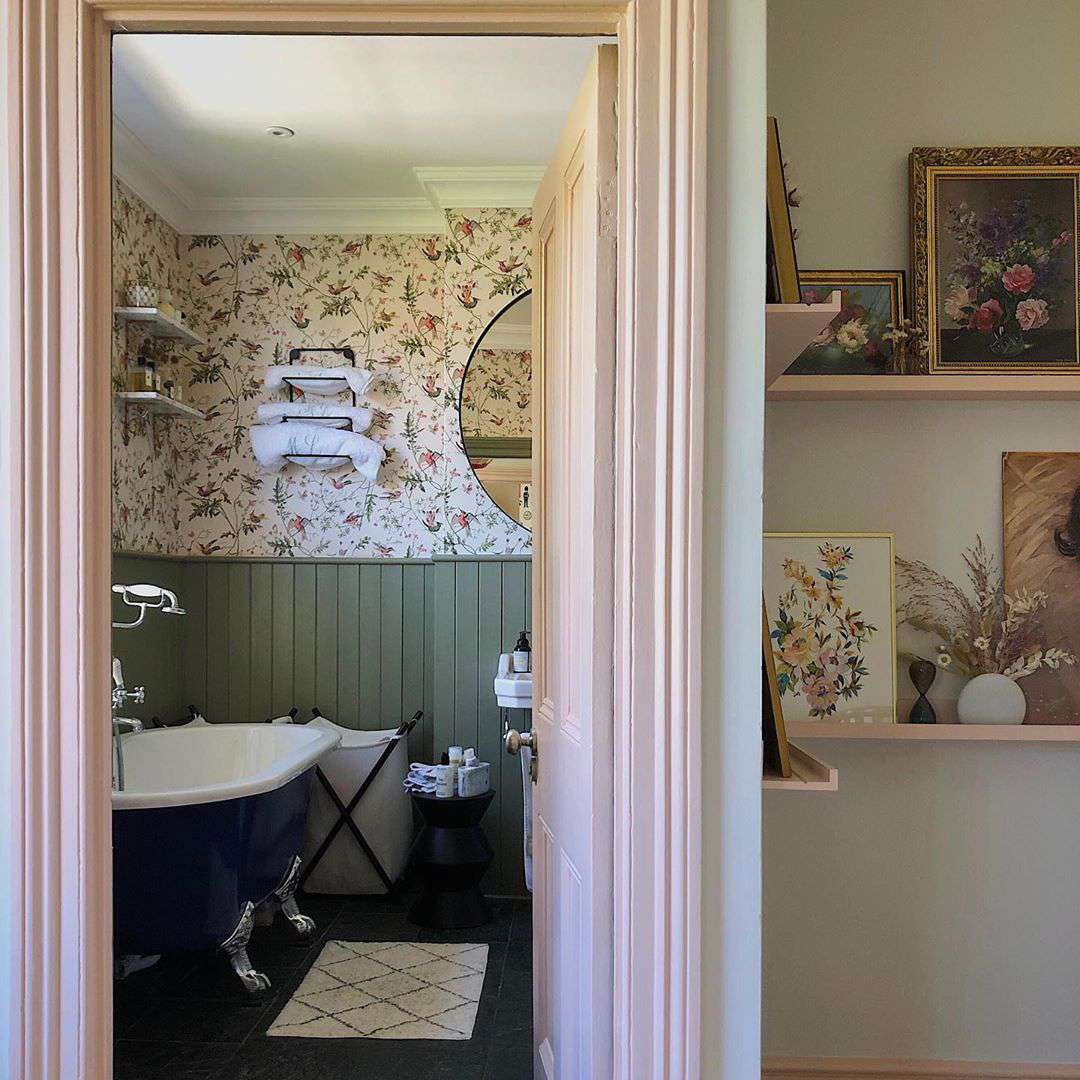 Bathroom with muted green paint