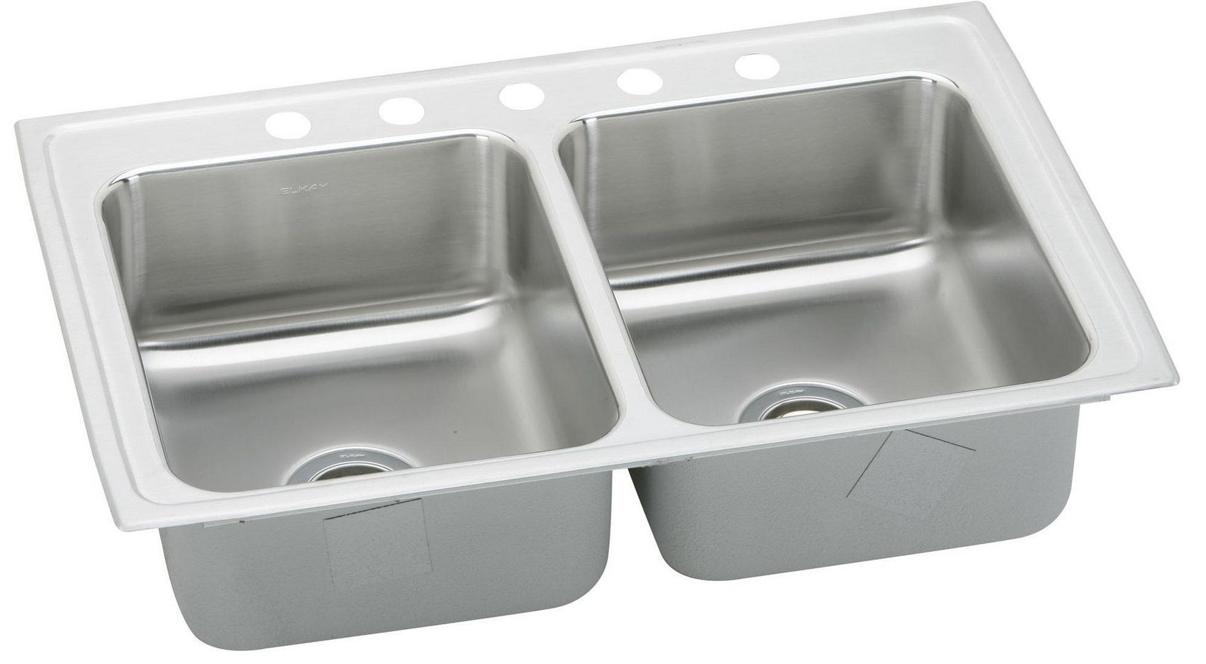 Elkay stainless steel sink against a white background.