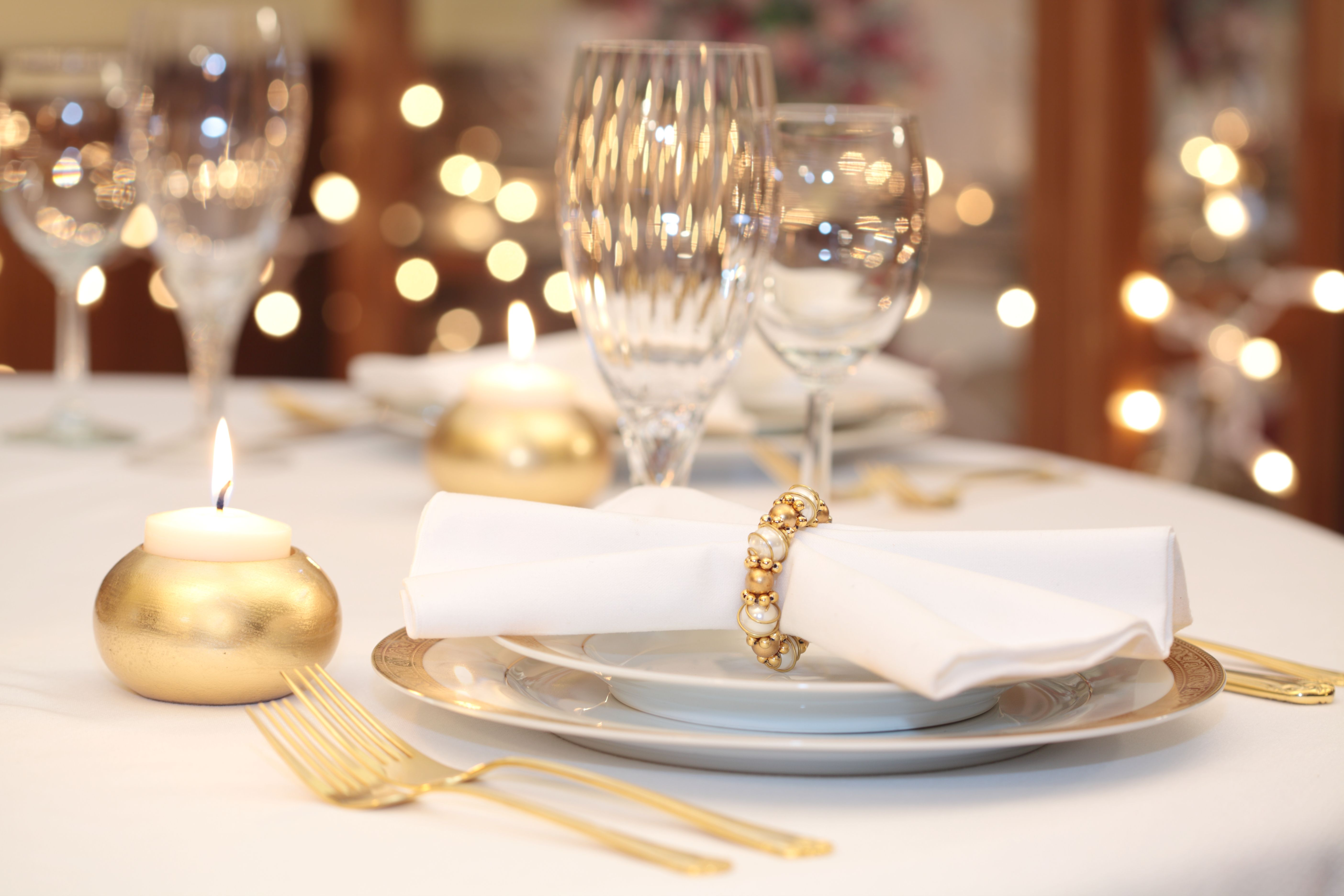 Gold china and flatware