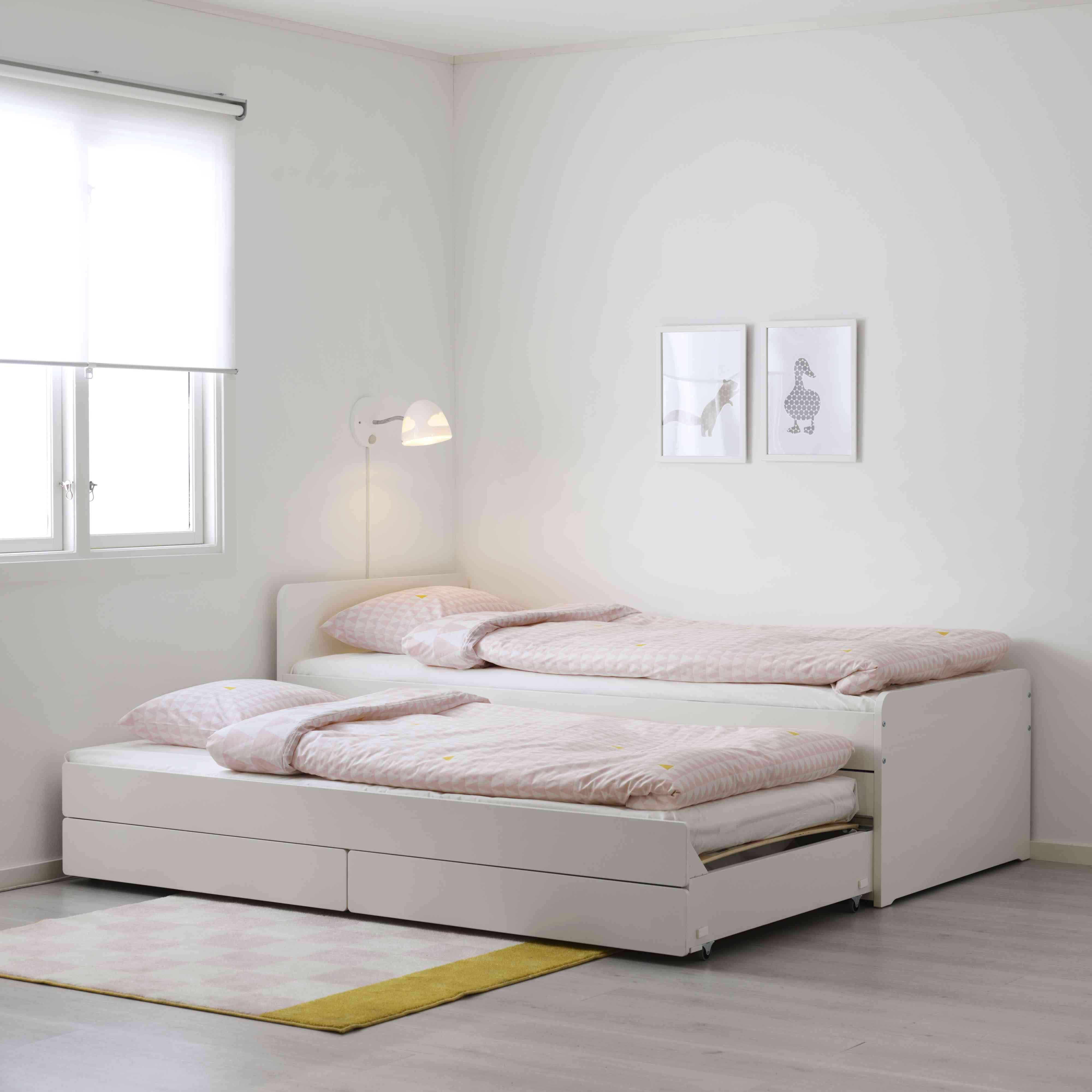 IKEA SLÄKT Bed Frame With Pull-Out Bed + Storage