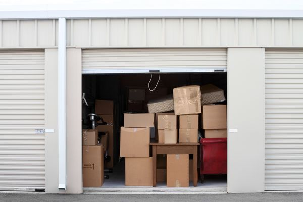 Self storage warehouse building with an open unit.