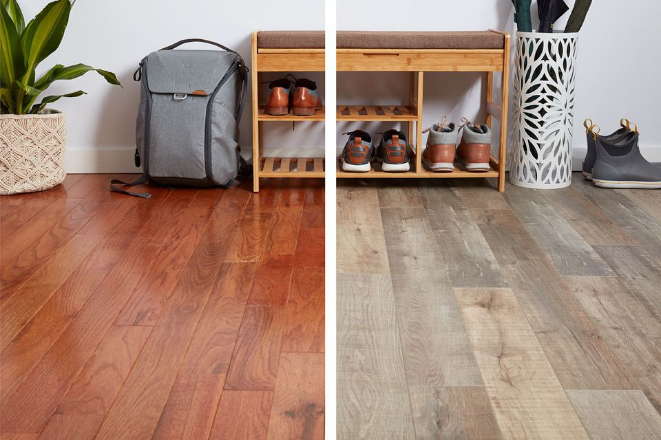 side by side comparison of flooring