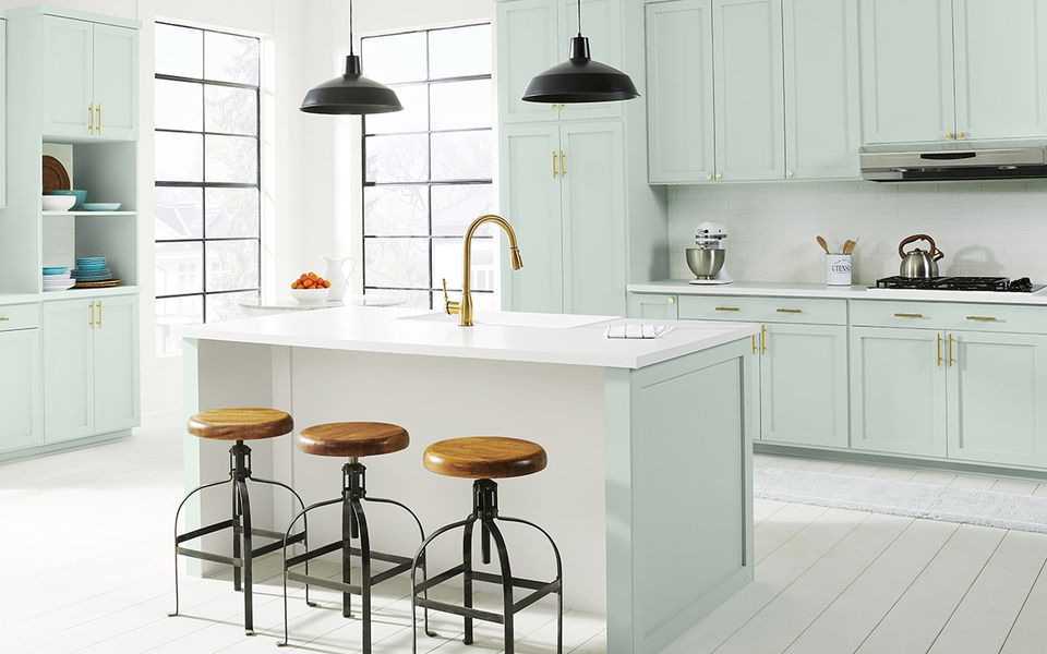 a kitchen features behr's 2022 color of the year