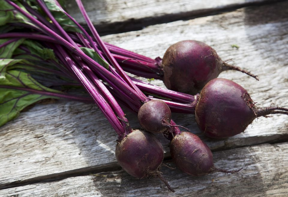 Close up of beets on table