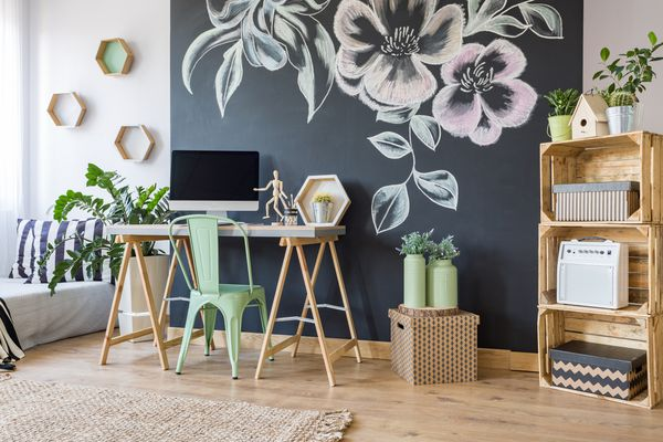 Home office with chalkboard wall
