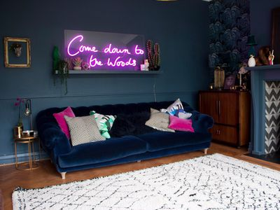 neon sign in living room
