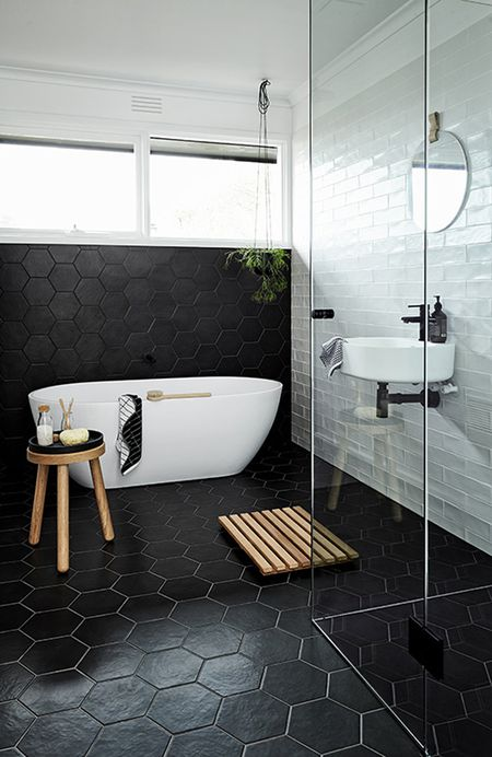 Bathroom With Black Hex Tiles