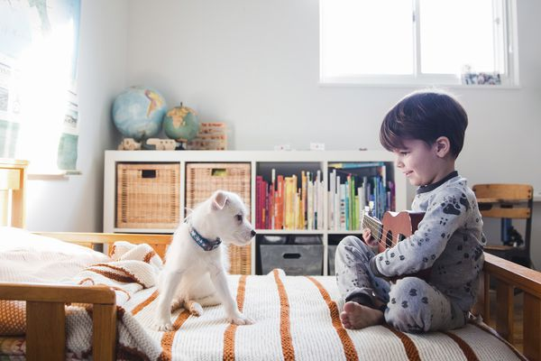 A puppy sitting on a bed next to a child, boy holding a ukulele.