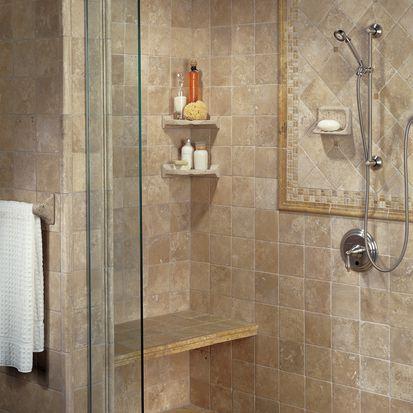 azulejo de travertino en una ducha
