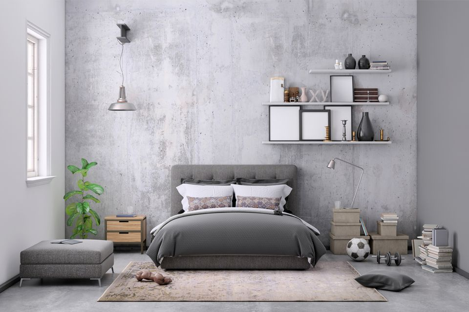 Modern bedroom interior, with bed, night tables, lamps, and many details around