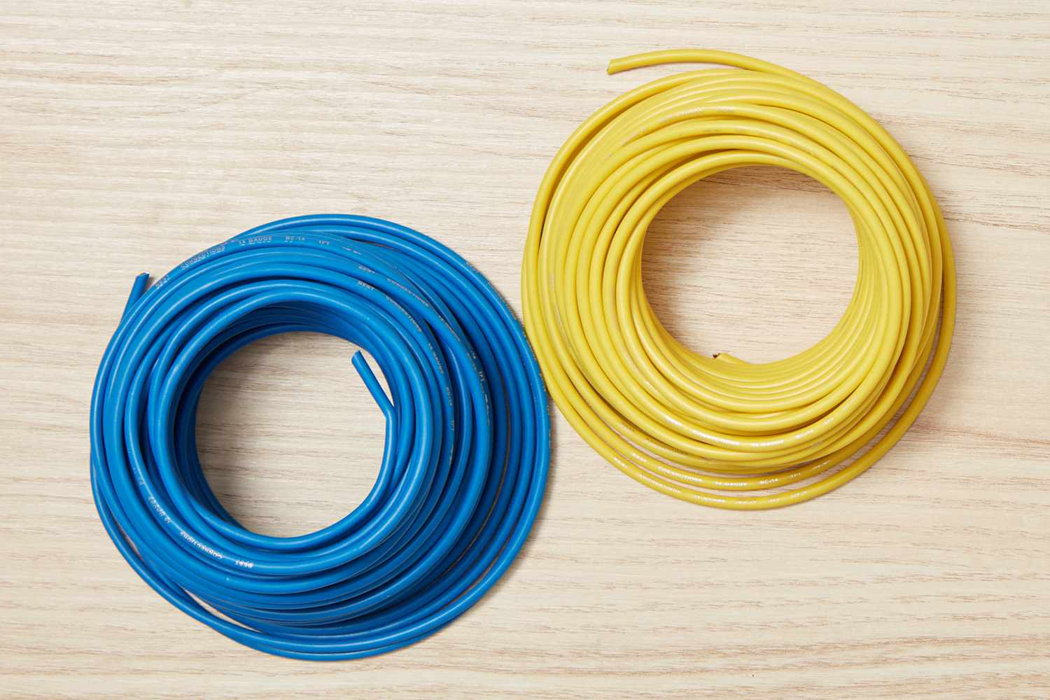 Blue and yellow electrical wires