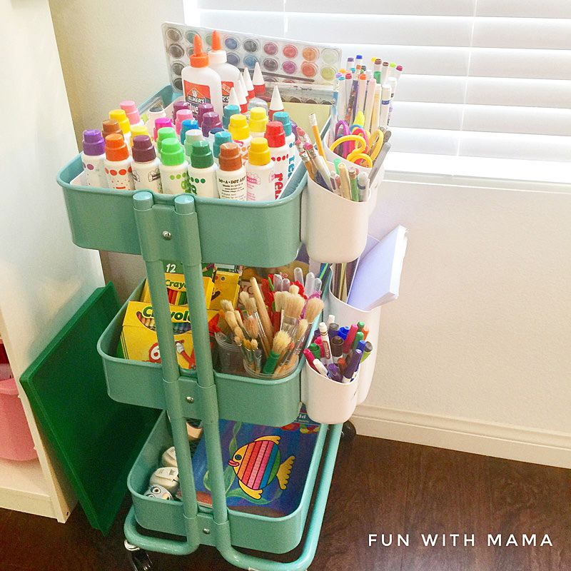 Art cart for arts and crafts storage