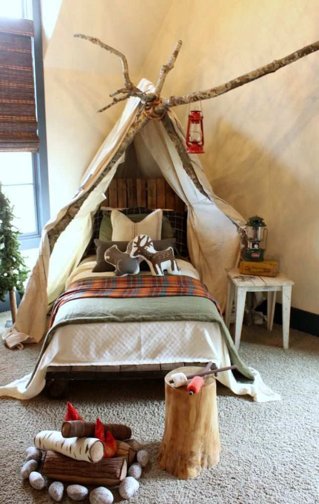 Rustic boys room with camping theme