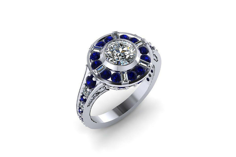 Anillo de halo inspirado en Paul Michael Design R2D2 en oro blanco de 14k con zafiros y diamantes