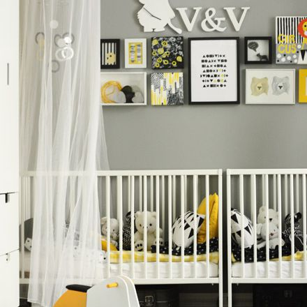 Black, white, and gray twin nursery with pops of yellow and nordic style