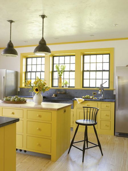 Yellow Kitchen With Soapstone Countertops