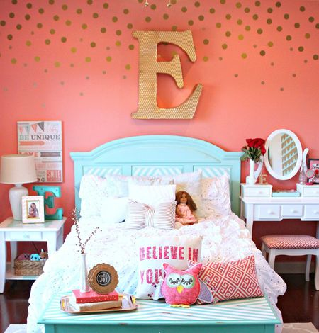 girls room wall wall decal girls room with gold polka dot decal wall art 24 wall decor ideas for girls rooms
