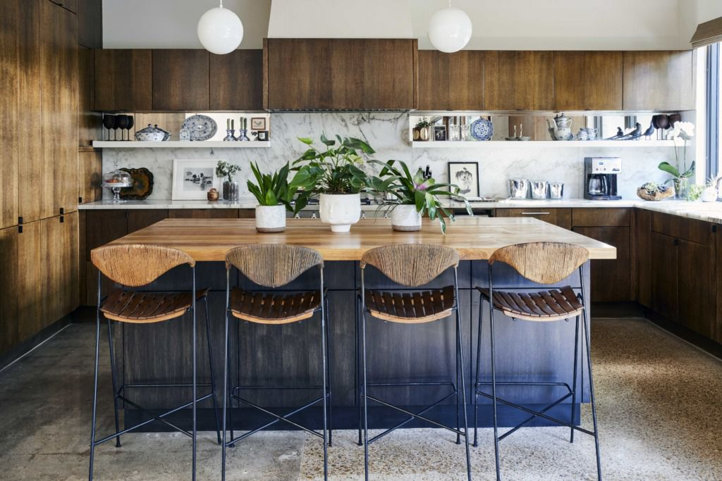 Marble countertops combined with butcher block