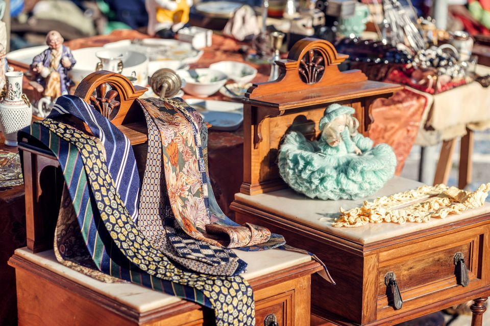 Antique furniture and knickknacks at flea market