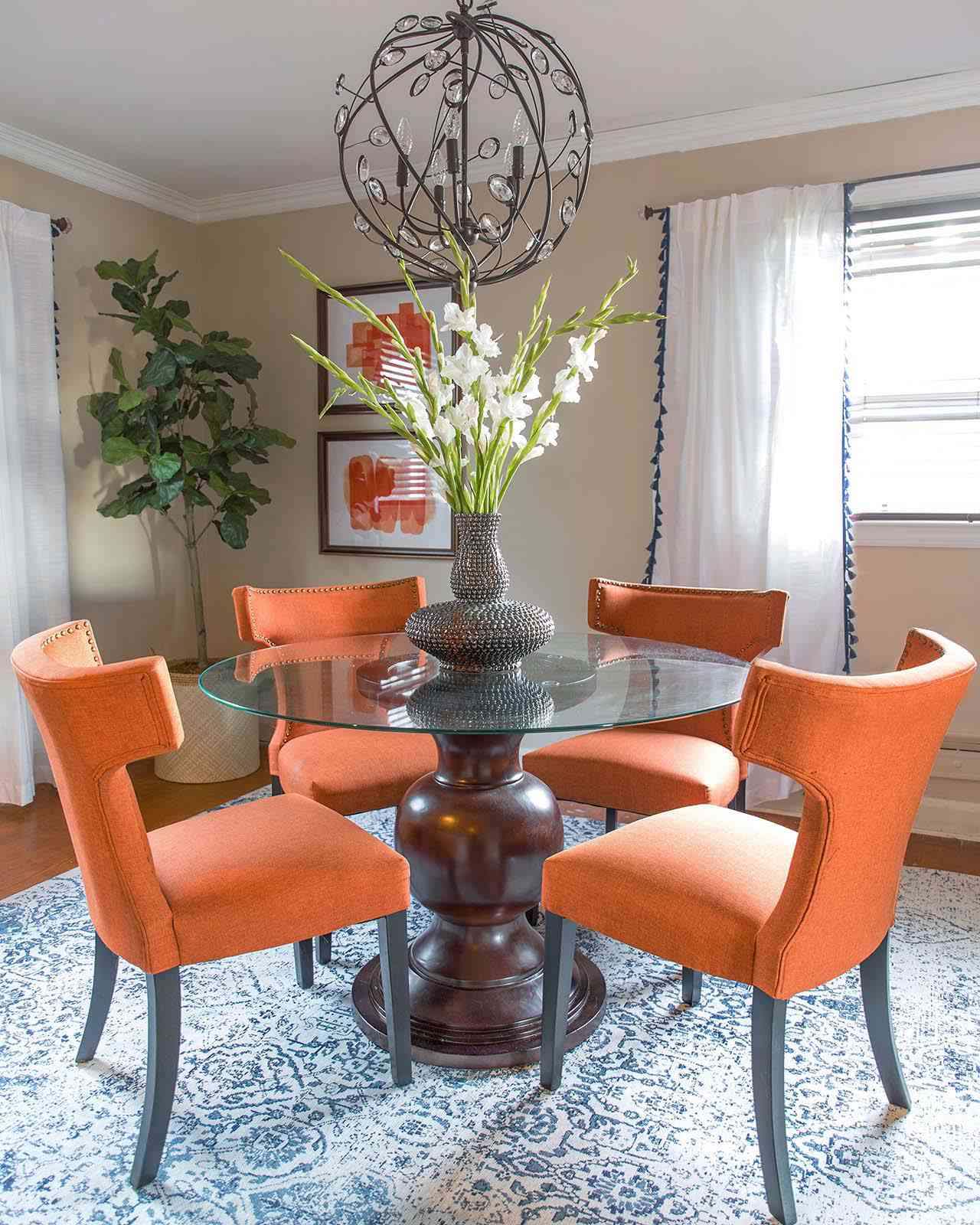 orange and blue dining room