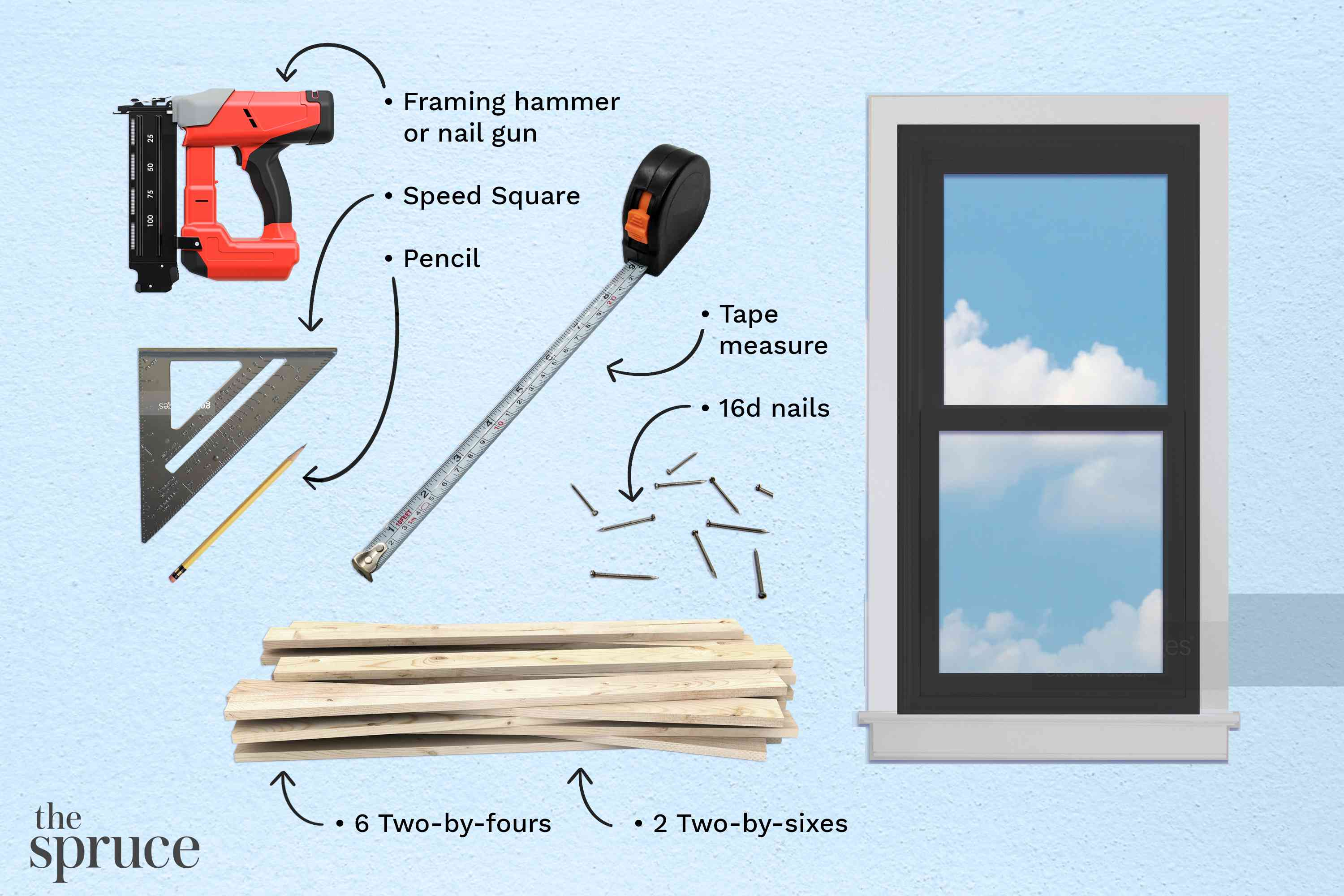 Materials and tools to frame a window illustration