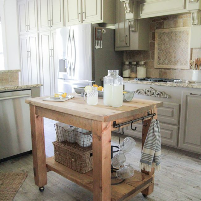 A Wooden Kitchen Island On Wheels