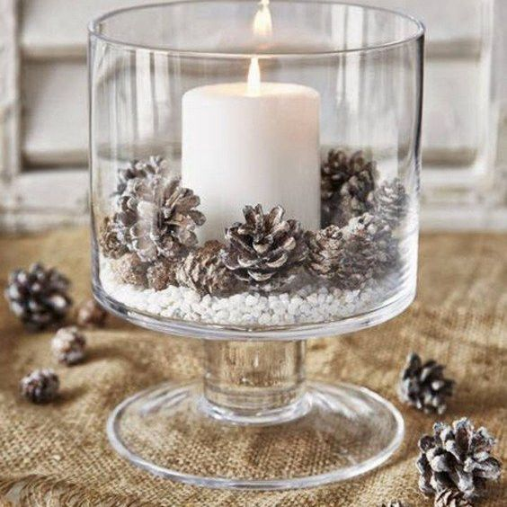 candle and pinecone centerpiece