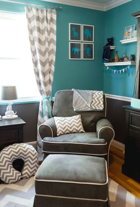 Boy S Nursery In Rich Teal And Grey