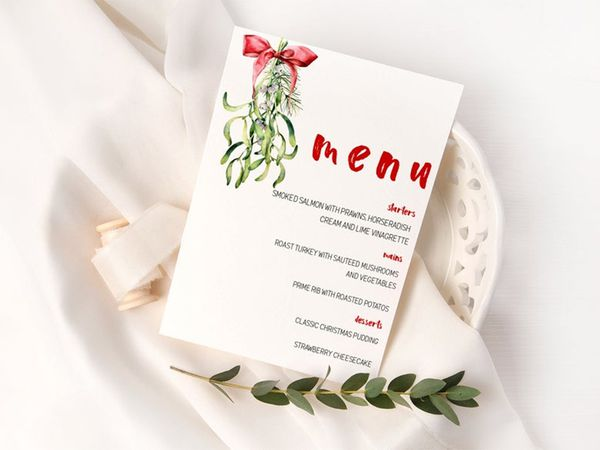 A green and red menu on a plate