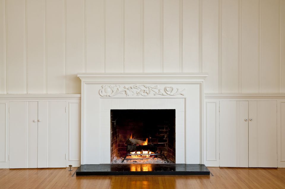 Wainscotting Around a Fireplace