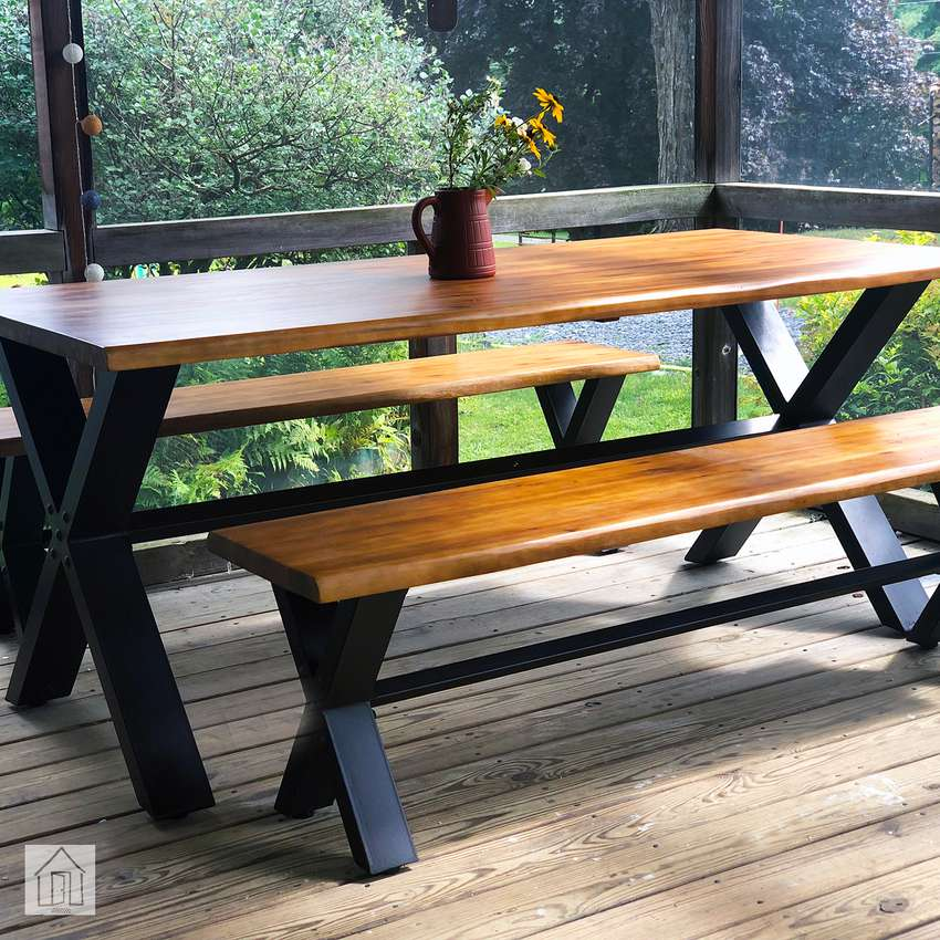 Laurel Foundry Modern Farmhouse Petronella 3-Piece Teak Dining Set