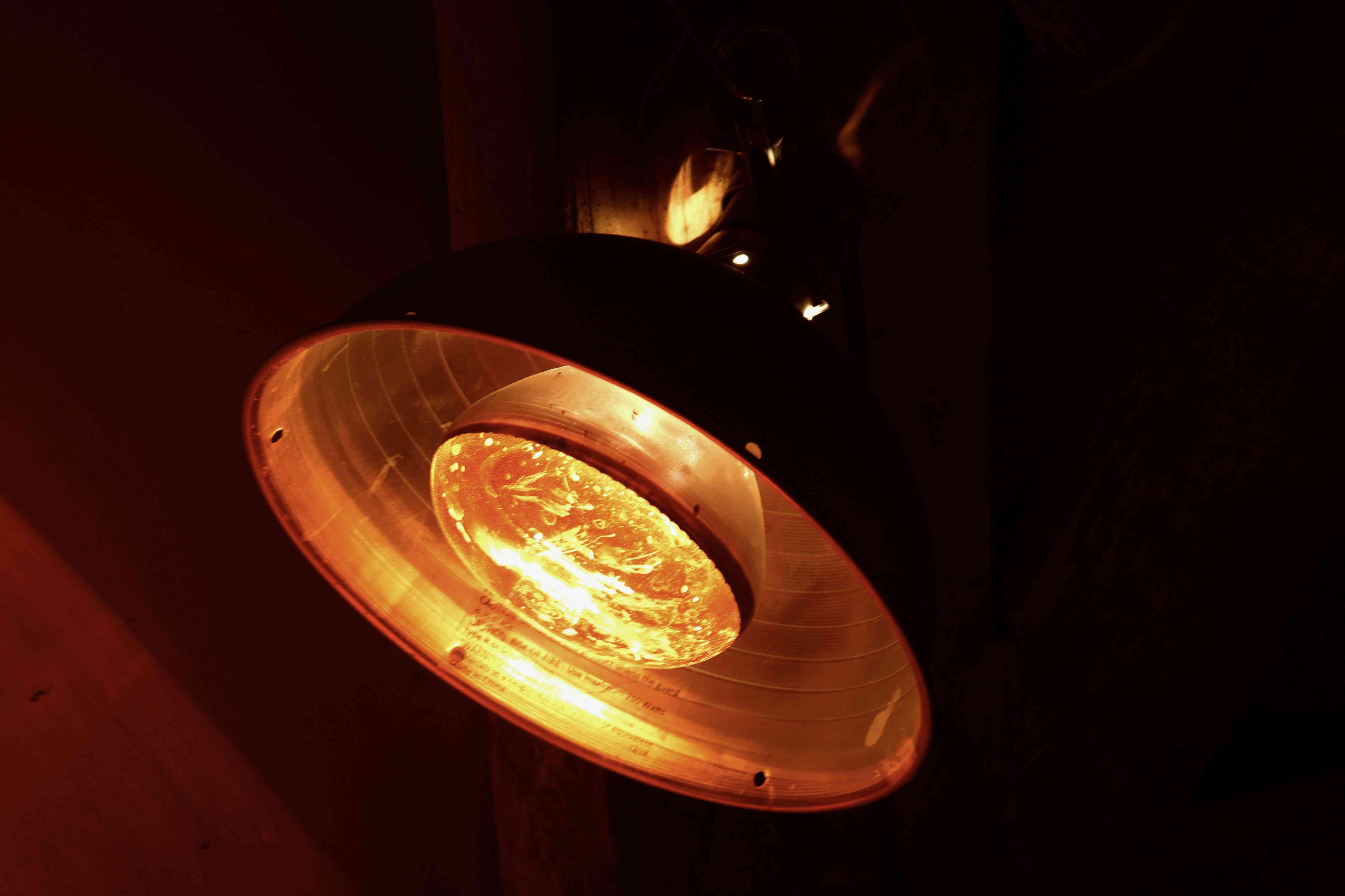 Heat lamp closeup
