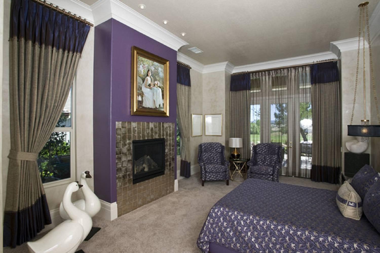 Purple Hollywood regency bedroom