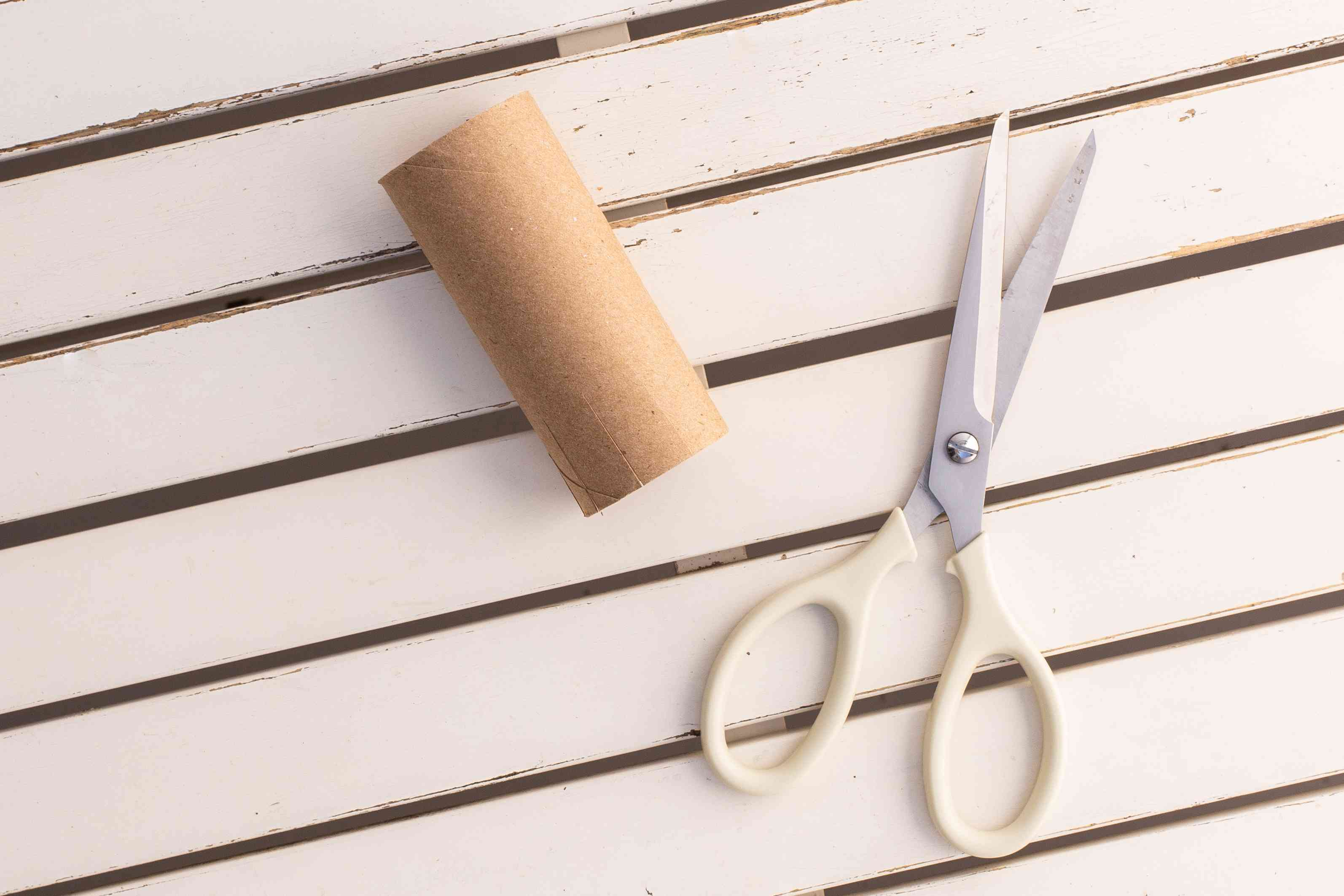 Toilet paper roll next to scissors on white wooden surface