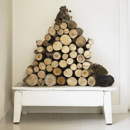artfully arranged fire logs