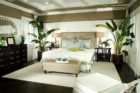 Bedroom With Large Potted Plants