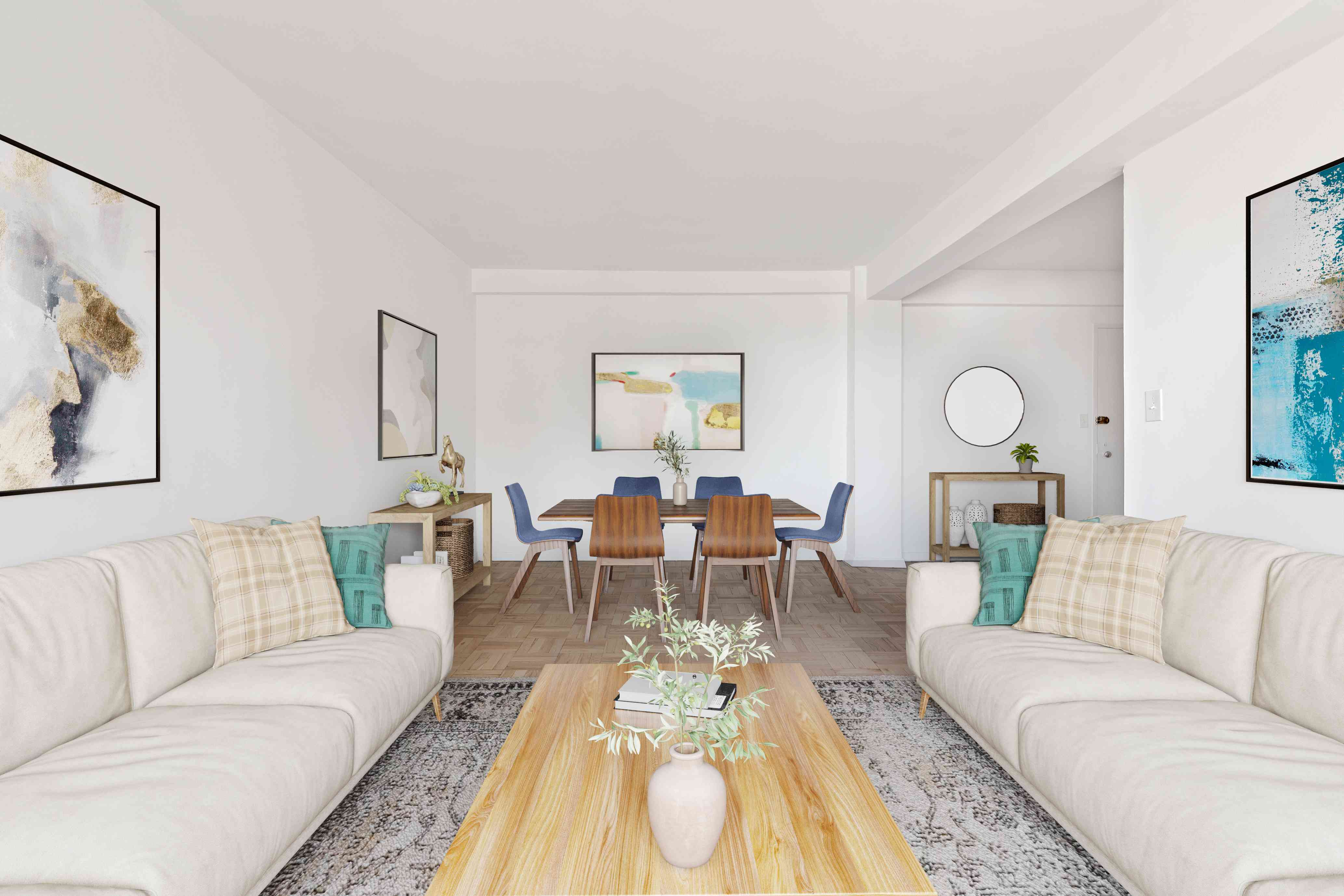Living and dining areas with a single floor type throughout