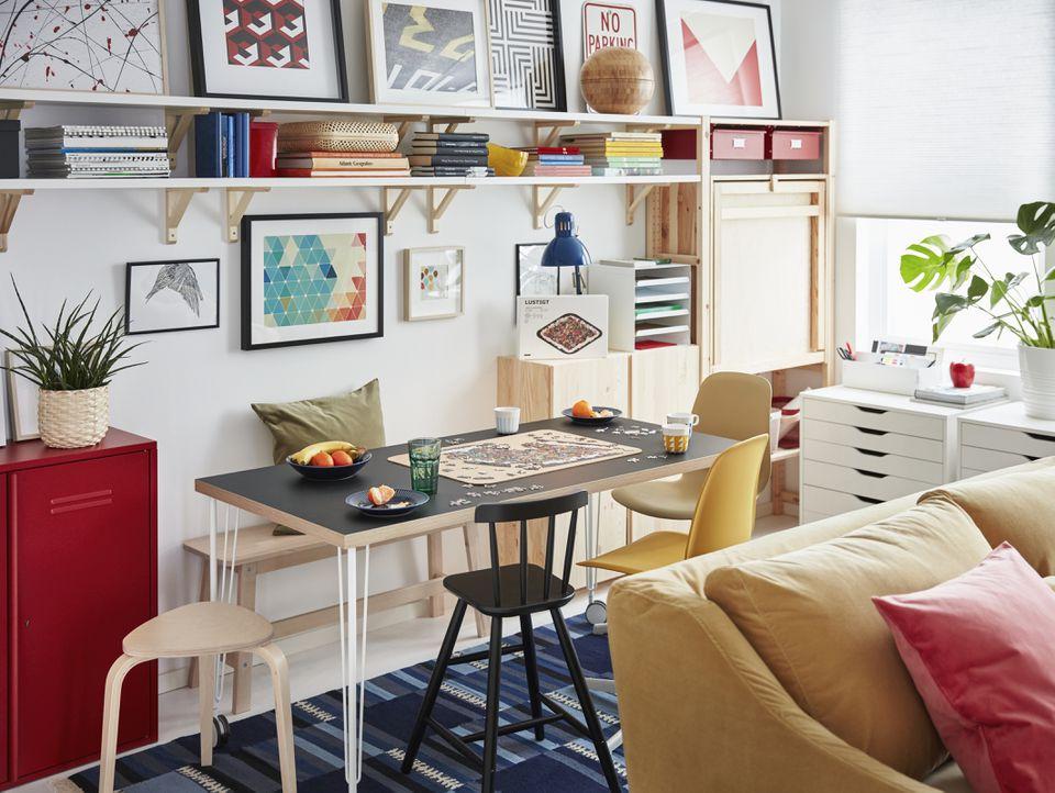 colorful ikea living room