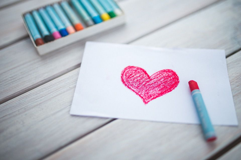 Crayon drawing heart