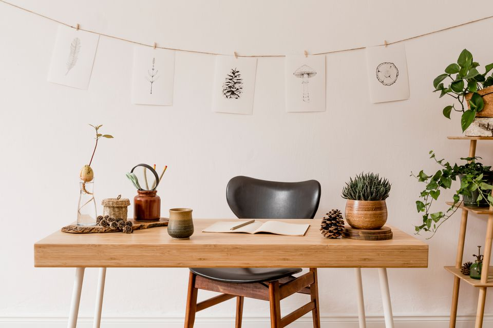 Stylish scandinavian home interior of open space, with a lot of plants, design accessories, bamboo shelf, wooden desk and hanging mock up forest drawings . Botany concept of home decor. Sunny room.