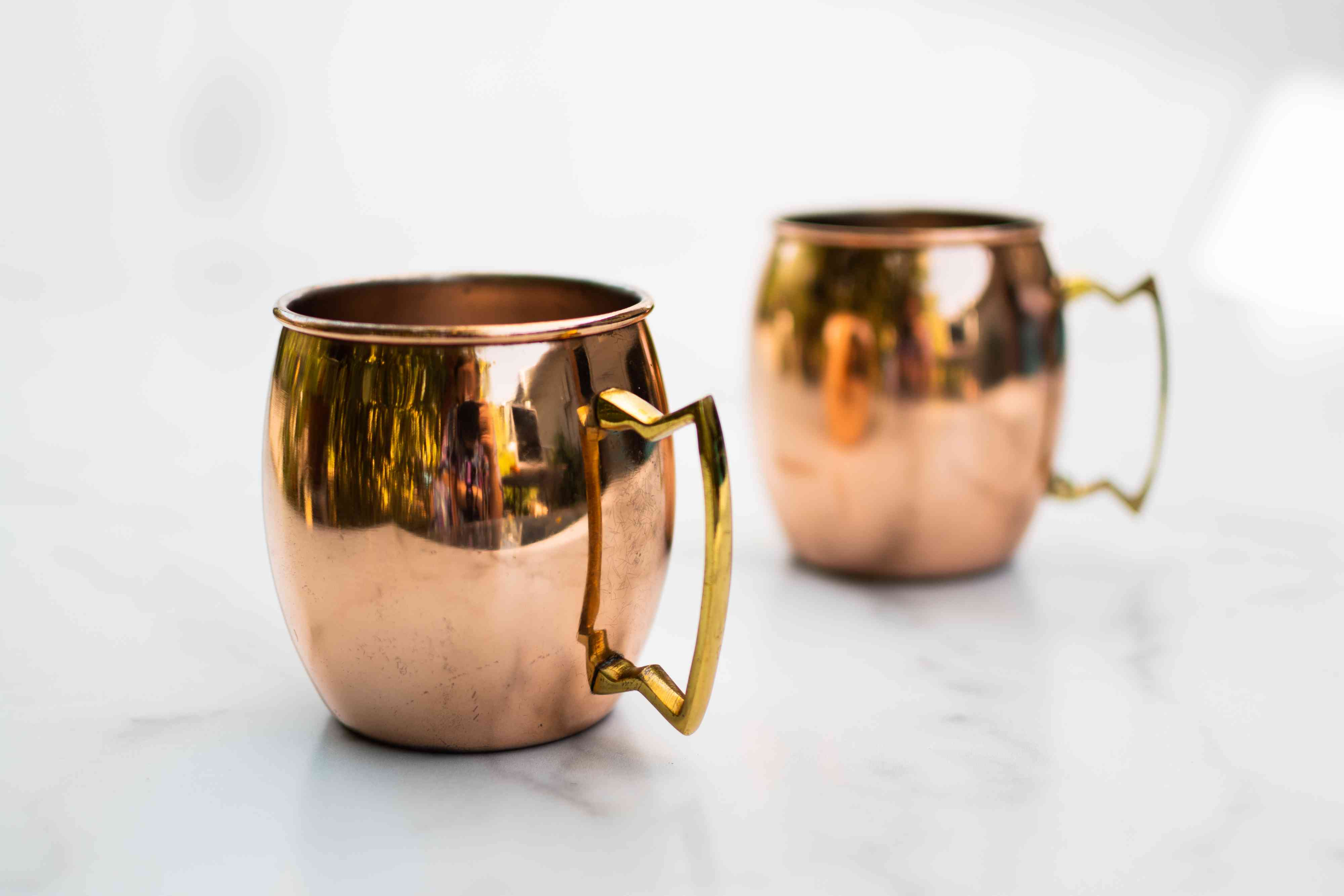 Pair of copper mugs not placed in dishwasher